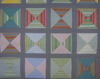Squares of Dimension - All Cotton Modern Throw Quilt