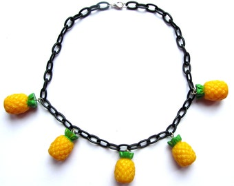 Pineapple necklace 40s 50s inspired fruit with 3D charms by Dolly Cool
