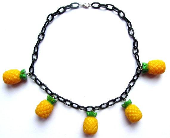 40s 50s inspired fruit necklace with 3D Pineapple charms by Dolly Cool