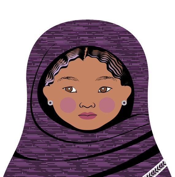 Violet Tuareg Wall Art Print featuring cultural traditional dress drawn in a Russian matryoshka nesting doll shape