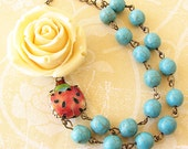 Flower Necklace Turquoise Jewelry Statement Necklace Ladybug Necklace Rose Jewelry Beaded Necklace Gift For Her