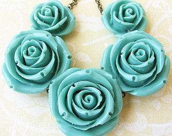 Statement Necklace Flower Necklace Turquoise Jewelry Bib Necklace Rose Jewelry Gift For Her