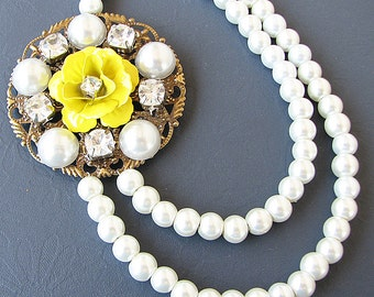 Statement Necklace Bridesmaid Jewelry Flower Necklace Pearl Necklace Bridal Jewelry Yellow Bib Necklace Beaded Gift For Her