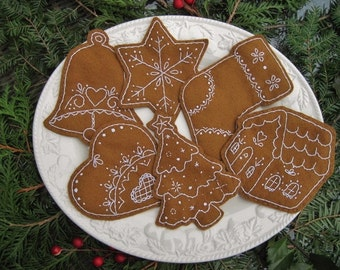 Gingerbread Christmas Cookies /Embroidered Christmas TreeOrnaments