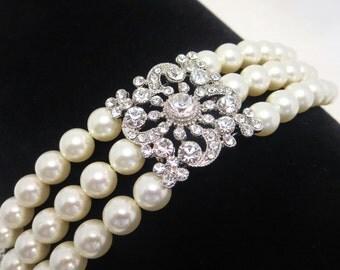 Bridal bracelet, pearl bracelet, cuff bracelet, vintage wedding jewelry, Swarovski pearls, rhinestone pendant, antique bracelet