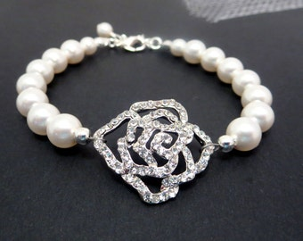 Bridal bracelet, Pearl Wedding bracelet, Pearl bracelet, Rhinestone bracelet, Rhinestone rose bracelet, Bridal jewelry, Cuff bracelet