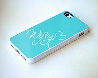 Mint Blue + White Nickname Rubber Silicone Custom iPhone Case + teal + Wifey iPhone Case iPhone 6, iPhone 6 Plus, 6+ Case