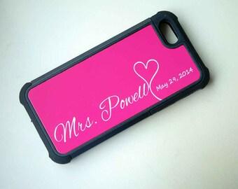 Mrs Phone Case + Monogram + Wedding Date + Hot Pink, iPhone 6 Case, 6+