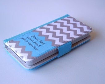 Personalized Phone Case, iPhone Wallet Case, Movie Quote, Inspirational, Help, Gray, White Chevron with Teal Peek a Boo Color Accent, 6s