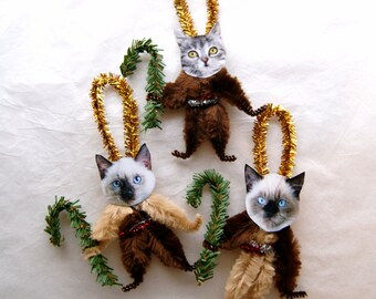 Chenille Ornaments, CATS Vintage Style Chenille Christmas Ornaments  Trio of cats (116c)