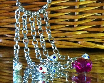 Ball and Chain, multi color, Rocker Style Necklace