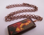 Mary Magdalene with alabaster jar Wire Wrapped Bamboo Tile Necklace