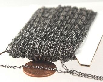 10 feet of Gunmetal Figaro Chain Bulk, SOLDERED Chain Facet Sturdy figaro chain 1.8mm - Necklace Wholesale Chain DIY Chain