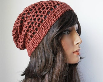Slouchy Mesh hat tam slouchy beanie rasta hippie boho in Terracotta Eco Friendly Hemp made to order