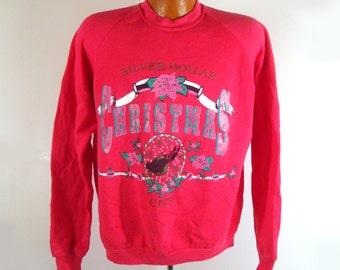 Ugly Christmas Sweater Vintage Sweatshirt Silver Dollar Party Xmas Tacky Holiday