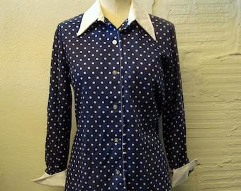 Vintage 1970s Polka Dot Shirt Top