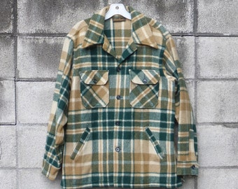 Eddie Bauer Jacket Wool Vintage Plaid Shirt Jac Coat Men's  size L Green Tan Brown
