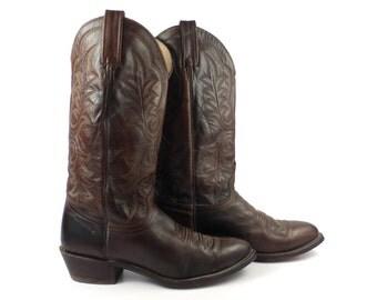 Brown Cowboy Boots Vintage 1980s Men's Leather J Chisholm Western size 9