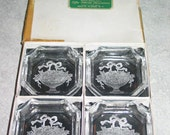 4 in box intaglio Victorian flower basket Czechoslovakia open Salt Cellar Dish Hamilton & Groff Roger Smith Hotel