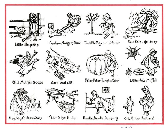 Vintage hand embroidery transfer pattern nursery rhymes for