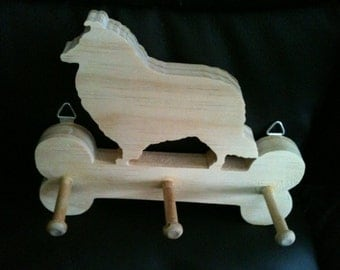 Wooden Collie leash holder