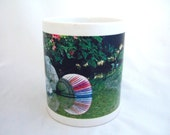 Coffee Tea Ceramic Mug with a Colorful Floral Garden Pond Scene Great Gift Idea for Her or Him Home Trends Accessory for Home or Office