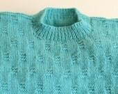 Mens Aqua Sweater, Crew Neck, Pullover Sweater