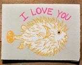 Puffer Love Blank Greeting Card