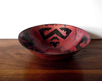 Modernist Barbara Culp Enamel on Copper Bowl, Southwestern, Primitive