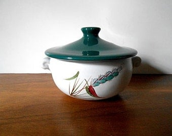 """Vintage DENBY """"Greenwheat"""" Covered Soup Bowl, Individual Casserole, English Stoneware"""