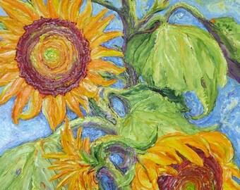 Paris' Yellow Sunflowers 24x48 Inch Original Impasto Oil on Canvas Palette Knife Painting by Paris Wyatt Llanso
