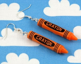 Orange Crayon Earrings