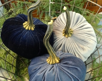 Scented Velvet Pumpkins, SET of 3:   Navy, Blue, and Gray