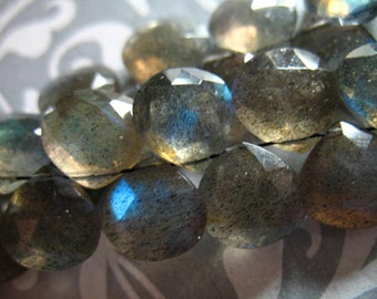Shop Sale..LABRADORITE Briolettes Heart, Luxe AAA, 2 pcs, 9.5-10.5 mm, Faceted Silver Grey Gray, blue flashes brides bridal weddings