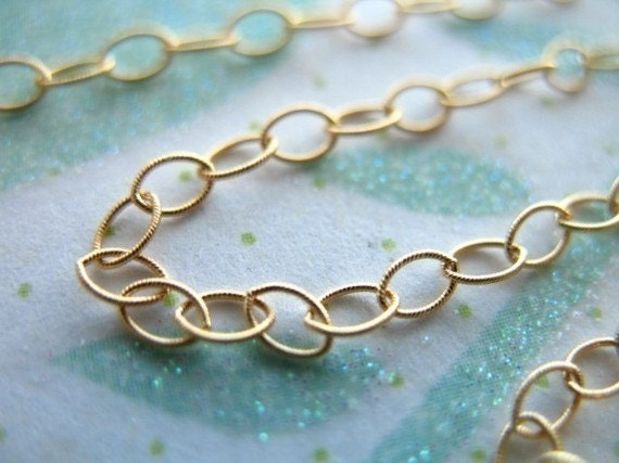 Shop Sale..3 feet, 14kt 14k Gold Fill, 3.5x2.3 mm, Textured Flat Cable Chain, Oval Links, 10-20% less wholesale airy delicate MMGF..MGF7