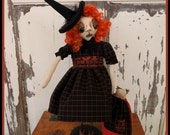 PRIMITIVE FOLK ART Halloween Zombie Witch Doll with Cat Doll on Stand