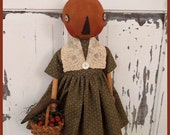PRIMITIVE FOLK ART Pumpkin Bobbin Doll with Crow, Basket and Mini Pumpkins  Fall and Harvest Thyme