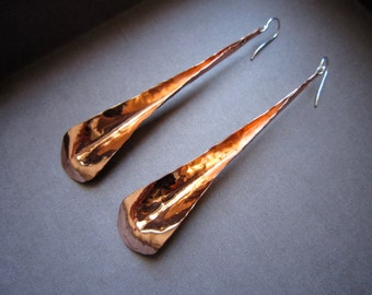 Lg Long Petal Earrings in Copper, Bronze or Sterling