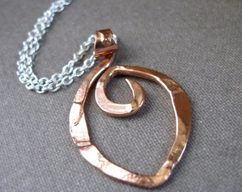 Mini Rugged Point Pendant Necklace in Copper, Bronze or Sterling on Sterling chain