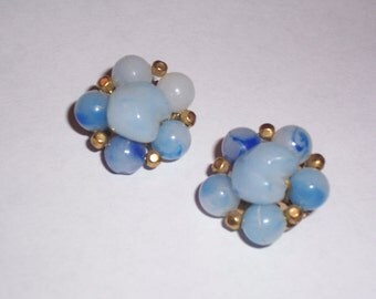 Vintage Blue Glass Earrings - Clip Ons