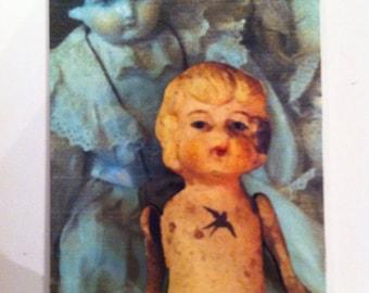 Wooden Doll Brooch