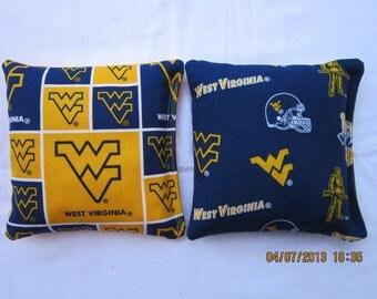 West Virginia University Mountaineers Cornhole Bags -FREE Priority SHIPPING- Set of 8 Corn hole Baggo Bean Bag Toss