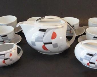 Amazing Deco or Modernist Style Fine China Tea Set Studio Carlsbad Czechosolovakia