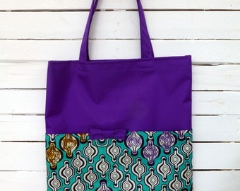 African Shopping bag, African Tote, African Market Bag, Purple