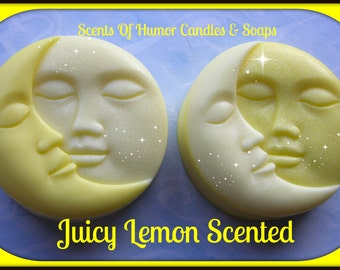 FACES Of ThE MOON - Juicy Lemon Scent - Celestial Decorative Soap - Citrus Scented - Hand Made Soap -  Limited Edition -  Scented Soap