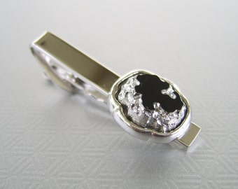 Vintage Silver & Black Glass Tie Clip Shields Mid Century Fathers Day