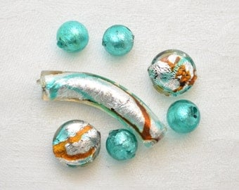 Murano Glass and Silver Foil Bead Collection