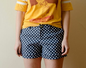 Polka Dot Denim Shorts, Mid Rise Womens Shorts Summer Cute Short Pants