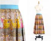 vintage 1960s skirt / Medieval Tapestry Print Bohemian Skirt