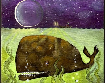 What You Dont See   A Whale Ocean moon Print  by Deborah Gregg